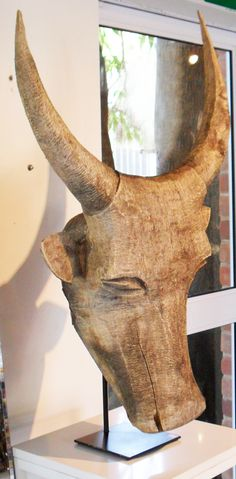 Wood Nguni Head - Inside Out Home Boutique How To Find Out, Boutique, Wood, Table, Accessories, Furniture, Home Decor, Decoration Home, Woodwind Instrument