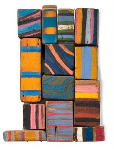 "sculpture US : Betty Parsons, ""blocks"", 1975, cubes en bois peints, rayures, femmes artistes"