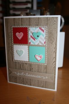 Stampin Up's Language of Love and Hardwood Background stamp sets. 2014 Occasions Mini Catalog