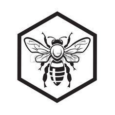 dessin monochrome avec abeille et nid d'abeille