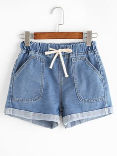 Blue Drawstring Rolled Hem Denim ShortsFor Women-romwe
