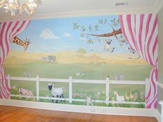 Animal mural for playroom