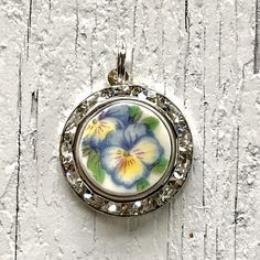 Blue Pansy Broken China Jewelry Necklace Pendant Charm