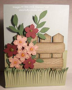 Stampin' Up! Woodgrain stamp, Petite Petals stamp set, Petite Petals punch, Little Leaves sizzlet, Fringe scissors for grass