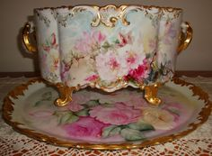 Antique Limoge Footed Jardiniere /Planter With Ornate Handles And Rich Roman Gold Feet, Hand Painted With Roses, Marked With The D & C Mark And Signed By The Artist - French   c.1894-1900