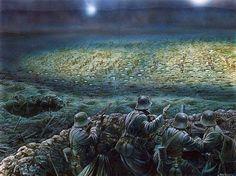 Una masacre a la luz de la luna: La operación de la noche en Passchendaele Ridge, 2 de diciembre de 1917. Artista Peter Dennis.