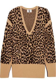 TOPSHOP UNIQUE Exhall leopard-intarsia jacquard-knit sweater. #topshopunique #cloth #knitwear