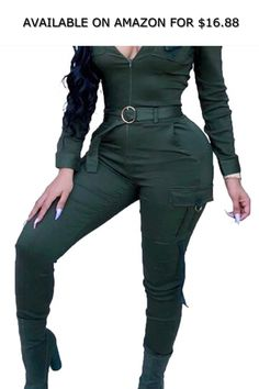 1afe9a2d27046 Bravepe Womens Sports Sexy Skinny Solid Color Long Sleeve Belted Jumpsuit  Romper Green L ◇ AVAILABLE