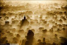 Burma. Sunrise Bagan from bird's-eye view point (shot taken from a balloon basket).