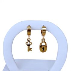 Punk Hoops with Key and Lock. #earrings #style #jewelry 9thelm.com