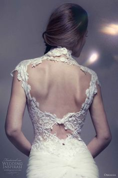 Orkalia 2013 lace wedding dress cap sleeves open back keyhole detail