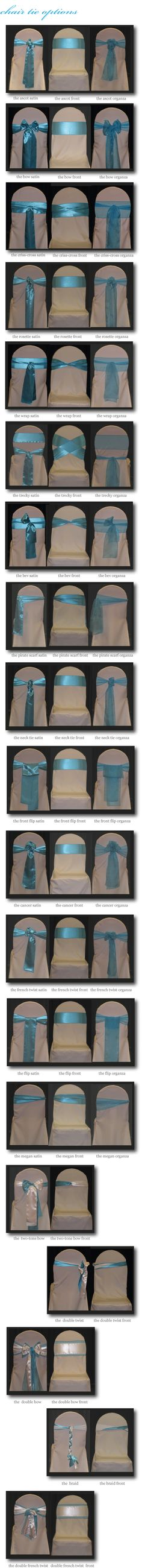 (too many) chair tie options Wedding Chairs, Wedding Reception Decorations, Wedding Table, Diy Wedding, Wedding Ideas, Chair Bows, Chair Sashes, Diy Chair, Hollywood Party
