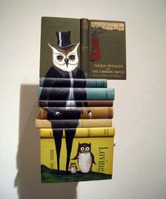 Paintings on stacked books