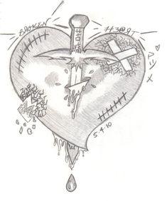 Invited by Broken Heart - Weg hier - Broken Sad Drawings, Dark Art Drawings, Pencil Art Drawings, Art Drawings Sketches, Tattoo Drawings, Broken Heart Drawings, Broken Heart Art, Shattered Heart, Easy Pencil Drawings