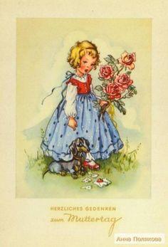 Desayuno Romantico Ideas, Vintage Greeting Cards, Vintage Postcards, Vintage Pictures, Vintage Images, Nostalgic Art, Vintage Drawing, Picture Postcards, Flower Images