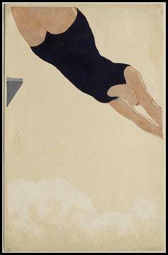 nchi Koshiro (恩地 孝四郎) (Japanese, 1891 – 1955)  Diving (Plongeon), 1932