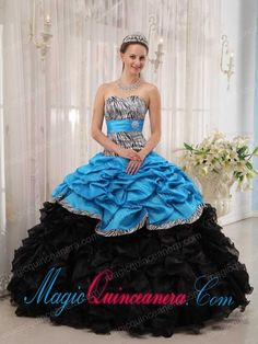 Brand New Aqua and Black Ball Gown Sweetheart Floor-length Quinceanera Dress - Magic Quinceanera