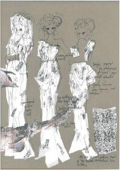 Fashion Sketchbook - fashion drawings; white dress sketches; fashion student portfolio // Enki Allan