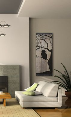 "Reclaimed Barn Wood Wall Art - Owl Silhouette in Bare Tree41"" x 18"" x 1"". The top and bottom have 1"" angle iron as borders."