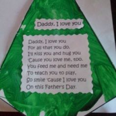 My youngest granddaughter made this for her Daddy for Father's Day at preschool. I thought the verse was so touching.  It's in the shape of a necktie. A real keepsake!