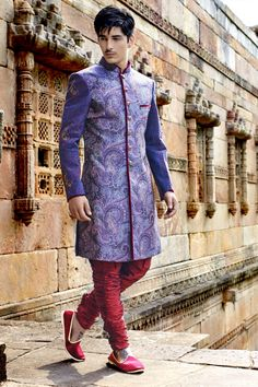 #Violet multicoloured khinkwab enticing #jodhpuri bandh gala #sherwani with standing collar -IW268