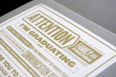 Graduation Invitations by Mitchell Ditto, via Behance