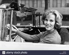 Woman And Vintage Car 1960s High Resolution Stock Photography and Images - Alamy Popcorn Festival, Just Married Sign, Women Drivers, 1960s Cars, Pin Up Hair, Head & Shoulders, Blonde Women, Young Couples, Work Travel