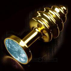 "Plug bijou ""Gold Ribbed"" bleu - Dolce Piccante."
