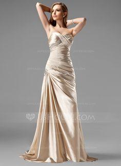 [US$ 139.99] A-Line/Princess Sweetheart Sweep Train Charmeuse Prom Dress With Ruffle Beading Sequins