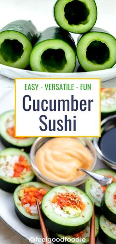 Cucumber sushi is an easy recipe to put together with friends and family. It's easily adaptable to any diet or taste preferences, and a fun twist on sushi. Cucumber Rolls, Cucumber Recipes, Cucumber Snack, Recipes With Cucumbers, Cucumber Ideas, Watermelon Diet, Clean Eating Snacks, Healthy Snacks, Healthy Eating
