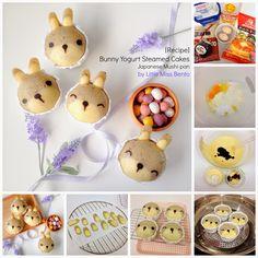 Bunny Yogurt Steamed Cake Recipe (Japanese Mushi-pan) うさぎのデコ蒸しパンのレツピ - Little Miss Bento