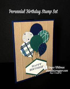 Who doesn't love balloons? This is a great masculine birhtday card using the True Gentleman designer series paper, Pinewood Planks embossing folder, Perennial Birthday stamp set, Balloon Bouquet and Tailored Tag punch from Stampin' Up! Birthday Cards For Men, Handmade Birthday Cards, Handmade Cards, Male Birthday, Creative Birthday Gifts, Paper Cards, Men's Cards, Fathers Day Cards, Masculine Cards