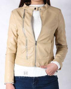 Hằng Jeans - Áo khoác da nữ màu kem chất chơi 8870-03. Giá: 859.000 đ
