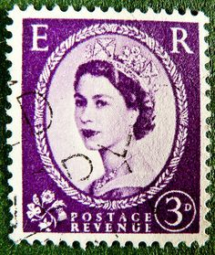 old english stamp in magenta lilac