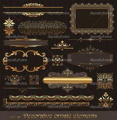 Elementos de diseño de decoración y decoración de página — Ilustración de stock #5409542