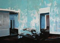 """Alex Kanevsky  HEROES AND ANIMALS II  Blue Room with Running Dog  55"""" x 77"""", oil on wood, 2011"""