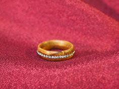 Handmade wooden ring from apricot wood with swarovski crystals.