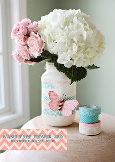Washi Tape Flower Jar