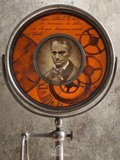 'L'Horloge' - Création inspirée du poème de Charles Baudelaire 'L'Horloge' ('Les Fleurs du Mal' - 1857). Verres soufflés peints à la grisaille et sertis aux plombs, montés sur un pied de miroir ancien. #lartisanduvitrail #vitrail #vitraux #artisanatdart #peinturesurverre #decoration #madeinfrance #madeinparis #stainedglass