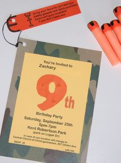 Nerf party, at park or indoor gym, favors-water bottles, camo satchels, darts, safety glasses