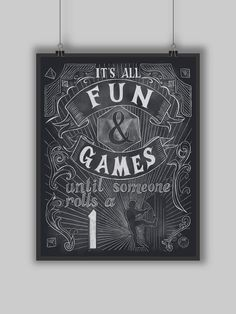 Fun and Games Print Digital Typography Dungeons by BrandiYorkArt