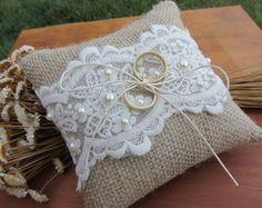 Ring Holder Wedding, Ring Pillow Wedding, Wedding Pillows, Ring Bearer Pillows, Ring Pillows, Deco Champetre, January Wedding, Jute Crafts, Lavender Bags