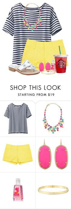 """""""outfit #81."""" by madisons-outfits ❤ liked on Polyvore featuring Uniqlo, J.Crew, Alice + Olivia, Kendra Scott, Jack Rogers, Kate Spade and madisonsoutfits"""