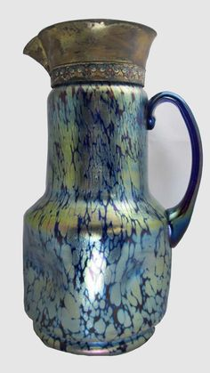 Early C1800's Loetz Cobalt Papillon Pitcher with applied cobalt handle and enameled metal spout. 32 cm