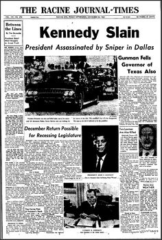 Photos: How newspapers in Denver and beyond reported JFK's assassination 50 years ago today Kennedy Assassination, Newspaper Headlines, 22 November, Newspaper Article, Political Events, Jackie Kennedy, Severe Weather, Jfk, Historia