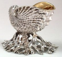 Front of Pair of Bailey & Co. Sterling Silver Nautilus - Form Salt Cellars in the Original Box, c. 1865