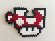 Perler bead mushroom Jigsaw piece - by Bjrnbr perler,hama,square pegboard,video games,nintendo, super mario bros,mushroom,