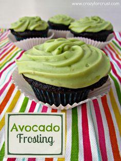 Avocado Frosting via @crazyforcrust// #avocado #dessert..maybe use coconut oil instead of butter to make vegan.