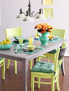 Need to paint my kitchen chairs and table because ugh.  Pretty much the exact colors i was thinking, but a bit more green to the chairs.