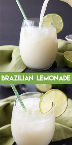 "Brazilian Lemonade Brazilian Lemonade,Drinks Brazilian Lemonade – a copycat Tucanos Brazilian Grill drink recipe. This refreshing beverage is actually ""Swiss Lemonade"" – a creamy limeade that is perfectly sweet and slightly tangy. The special. Refreshing Drinks, Yummy Drinks, Healthy Drinks, Nutrition Drinks, Healthy Eats, Healthy Juices, Healthy Juice Recipes, Fruit Recipes, Healthy Smoothies"